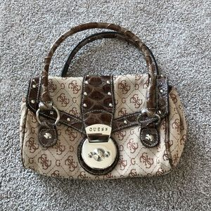 mini guess purse brown & silver 2000's